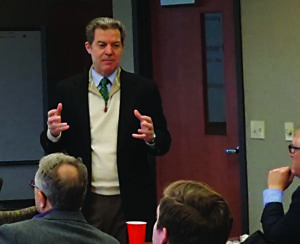 Governor Brownback speaks to a crowd at BPU.
